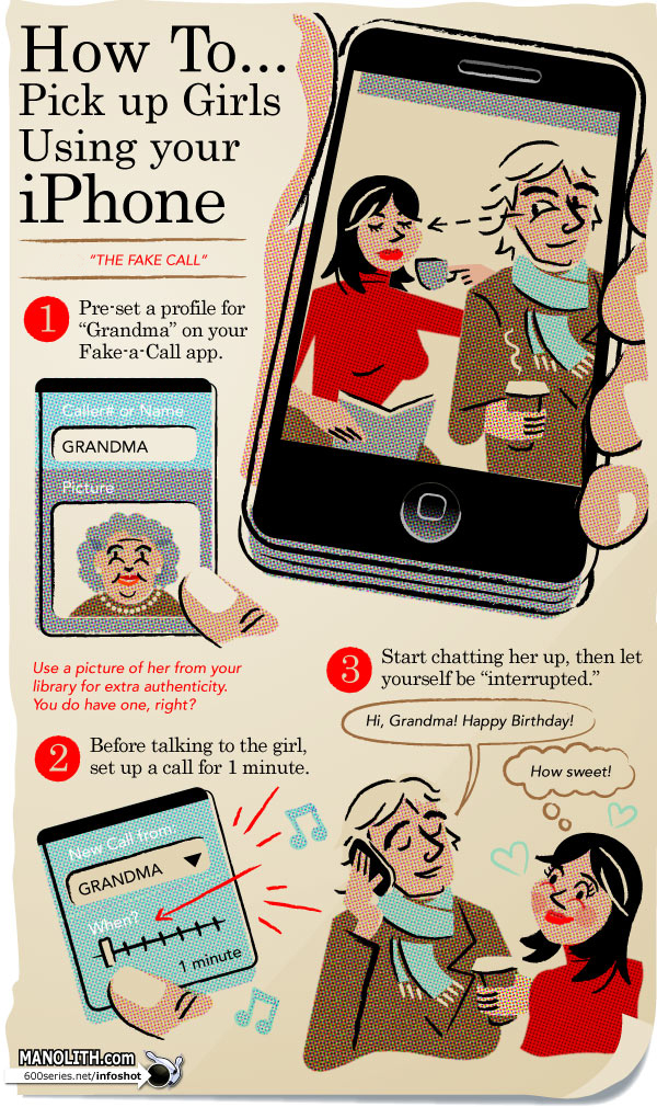 How to pick up girls using your iPhone (via Manolith) Ok, another infographic. Hopefully the last one.