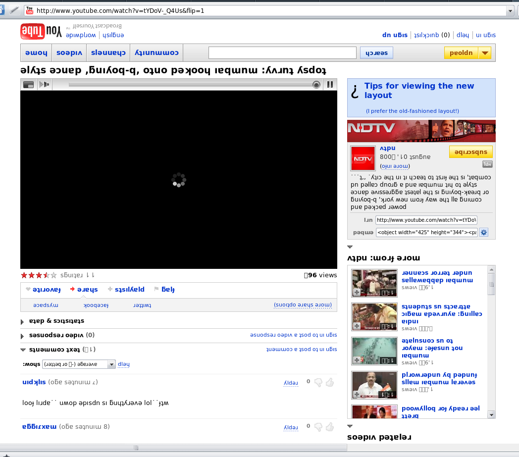 "Youtube's April Fools prank. Sweet ;) Click the picture for the ""new viewing experience""."
