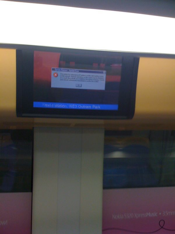 Windows error in the train display