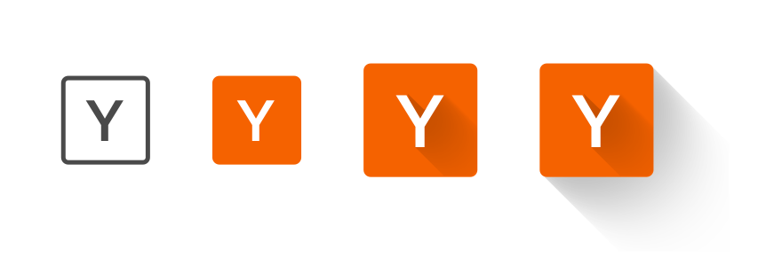 I started from the basic shape and letterform, and experimented with the hacker news colour and shadow. The final icon is a tile, similar to the speed dial itself. The 'Y' in the bottom right of the speed dial provides closure, and serves as an indicator of the source of the content in the tile.