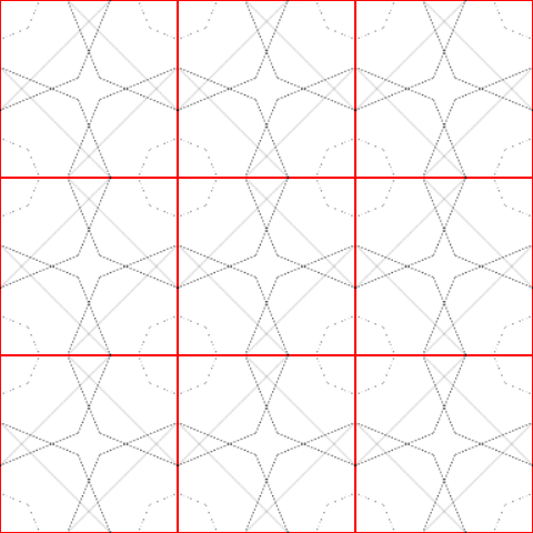 One of the first code experiments in the project. The screenshot shows the grid and the two fundamental shapes that are centered at each grid point.