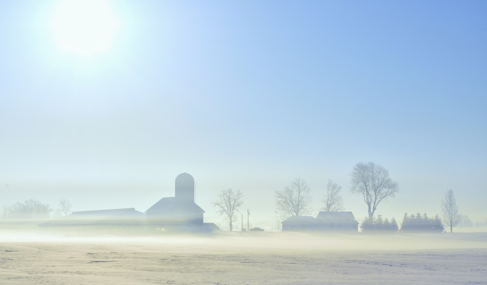 Farm on a Foggy Morning