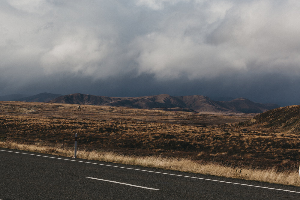 The stormy drive from Wellington to Pukuwa, Desert Road, Waiouru Military Area.