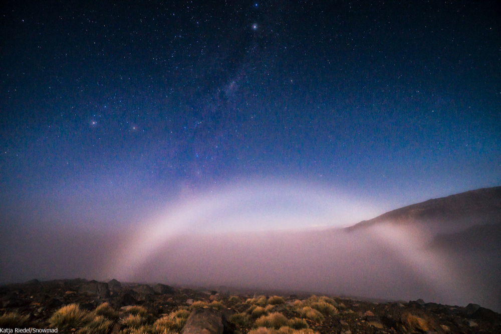 Fogbow created by the moon light. Taken at midnight from Tukino Lodge on Mt Ruapehu
