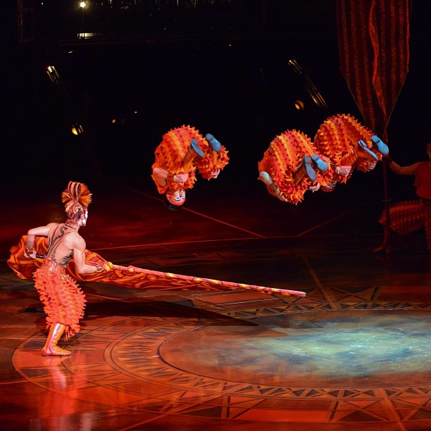 """FIRE [Yao] makes the """"Bamboo Poles"""" performers jump! It's the second last night of @CirqueduSoleil's #Dralion at Cape Town's Grand Arena GrandWest… Cirque du Soleil's Dralion, is presented by T-Systems 