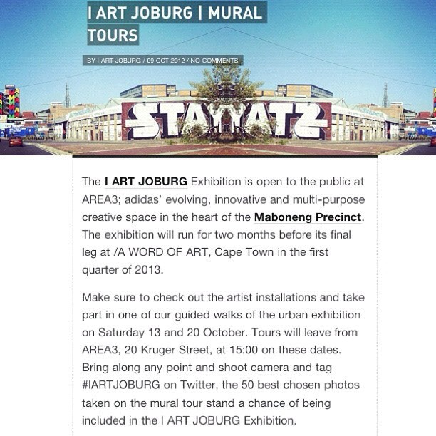 Starting today. Join the @igerjozi x @iartjoburg #instawalk's | Take part in one of our guided walks of the urban exhibition on Saturday 13, 20 and 27 October. Tours will leave from AREA3, 20 Kruger Street, at 15:00 on these dates. Bring along any point and shoot camera and tag pics with #IARTJOBURG, the 50 best chosen photos taken on the mural tour stand a chance of being included in the I ART JOBURG Exhibition. (Taken with  Instagram  at Arts on Main)