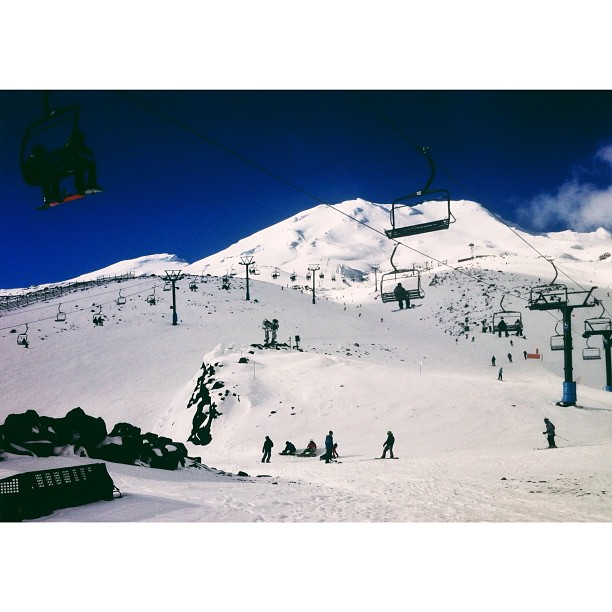 I have no words, this mountain kicked my ass! But what fun.. This is taken from only a 3rd of the way up, only being here can you fully comprehend the size of this ski resort.  (Taken with  Instagram  at Turoa Skifield)