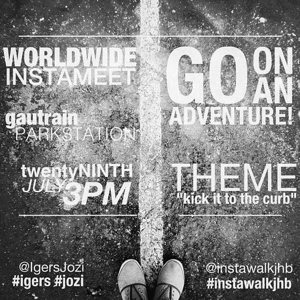 "It's that time of the year again! We are having our 5th worldwide Instameet organised officially by Instagram as well as our first themed walk, ""kick it to the curb"" which does and does not involve curbs, kicks, its, tos or thes, you may interpret it as creatively and uniquely as you wish :) be sure to look up our local accounts @IgersJozi and @instawalkjhb on IG/Twitter! And also register on our local community site  http://tinyurl.com/instawalkjhb290712   Starting Point: Gautrain Park Station JHB Time: 15:00  Date: 29 July 2012 Gautrain info: The last train leaves Park Station at 20:30 but we will be done by 18:00 in time to have drinks somewhere, with ample time to get back!  Please feel free to screen grab and repost this! (just mention @igersjozi, @instawalkjhb, @garethpon, @roywrench or @timvanrooyen in case there are any questions) (Taken with  Instagram  at Park Station)"