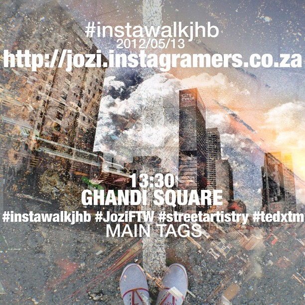 #instawalkjhb 2012/05/13 GHANDI SQUARE @ 13:30 be sure to follow @instawalkjhb and register on the new local Instagramers forum at  http://jozi.instagramers.co.za/  the main tags for the weekend are: #instawalkjhb -pics taken when jhb walking #JoziFTW -posted automatically to  www.joziftw.co.za  #streetartistry -the official @instagram weekend hashtag project by @Jayzombie, post pics that relate to any art on the streets #tedxtm -pictures tagged with this need to represent how nature and civilization interact with each other, selected pics will be exhibited at @igerscapetown's #tedxtm event  Have a good walk and look out for each other and keep it fun!! (Taken with  Instagram  at Ghandi Square)