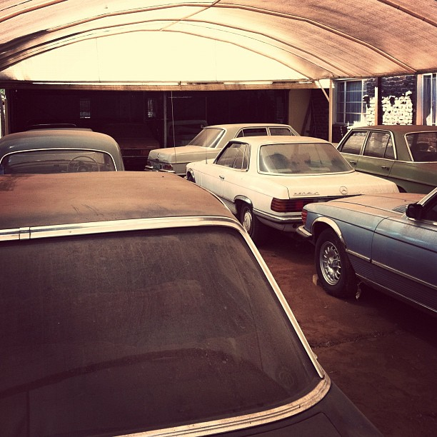 Mercedes Benz yard +25 classic mercs all in running order.  (Taken with  Instagram  at Potchestroom)