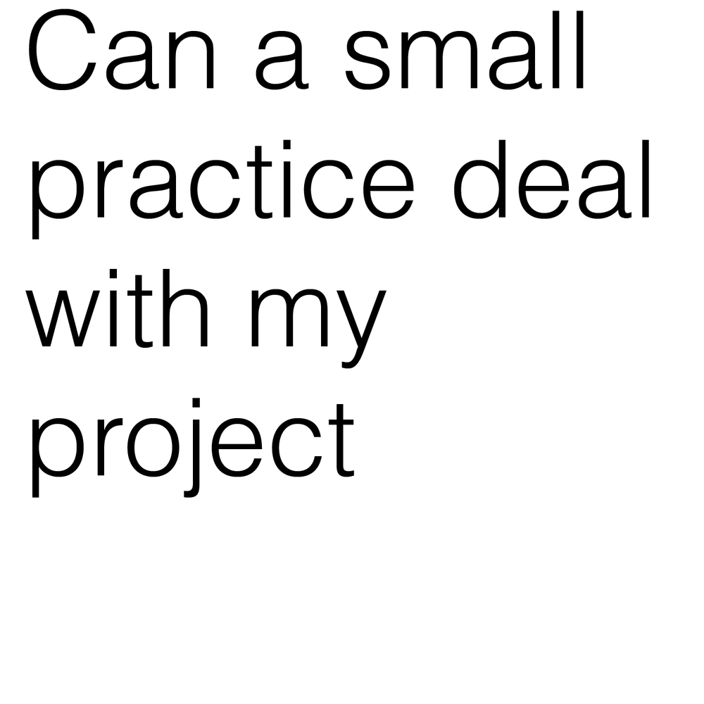 Can a small practice deal with my project