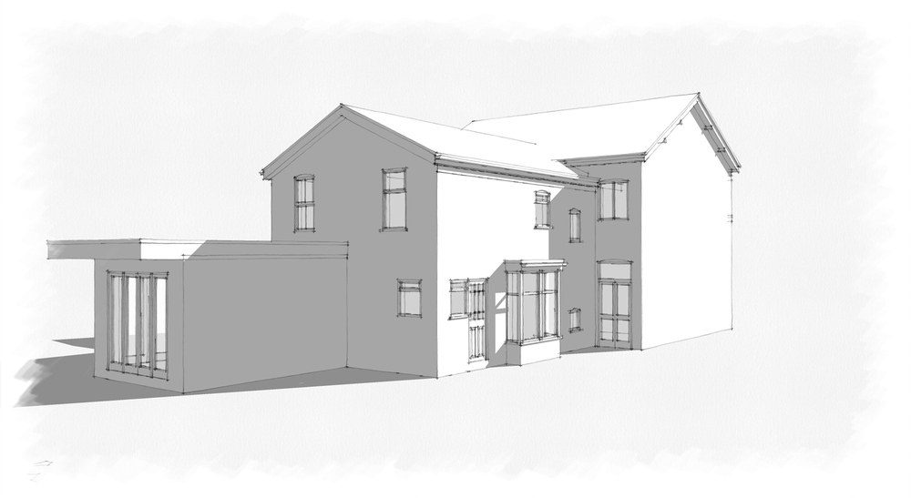 As Existing : Prior to construction, (neighbouring properties existing flat roof extension)