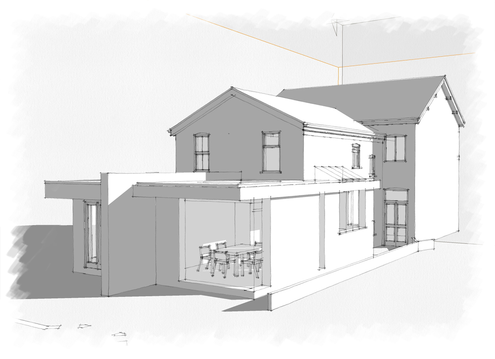 Concept Design : Contemporary rear flat roof extension with side concertina doors and full height glazing strip to kitchen area