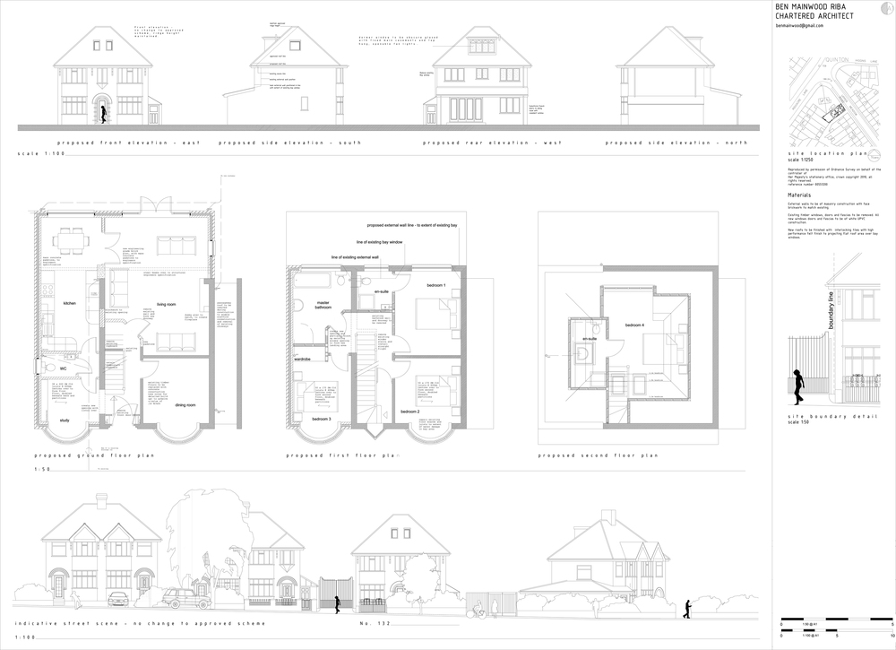 Side and loft extension to 1930 s home quinton mainwood architects Master bedroom plan dwg
