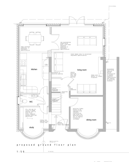 Side and loft extension to 1930 s home quinton for Floor plans for a semi detached house extension