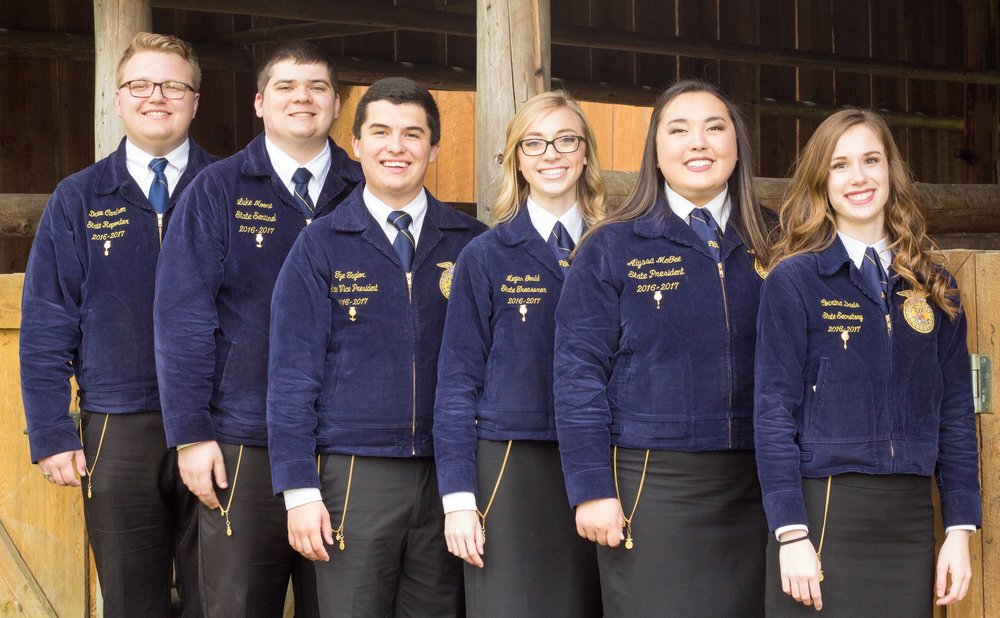 The 2016–2017 Washington FFA State Officers from left to right: Reporter Drew Carlson, Sentinel Luke Moore, Vice President Tye Taylor, Treasurer Megan Gould, President Alyssa McGee, Secretary Corrina Davis.