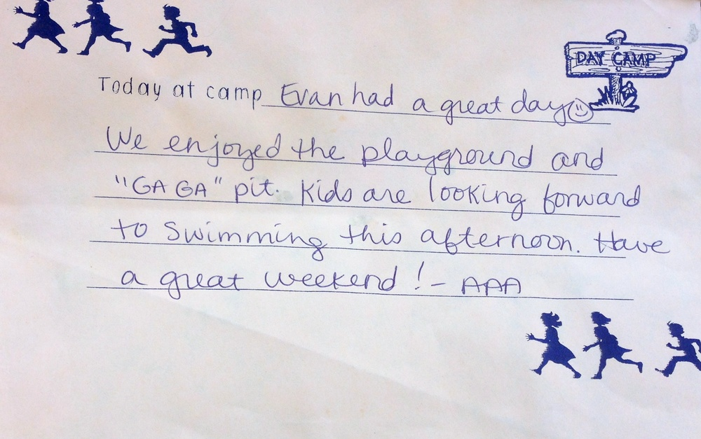 Evan's camp report.