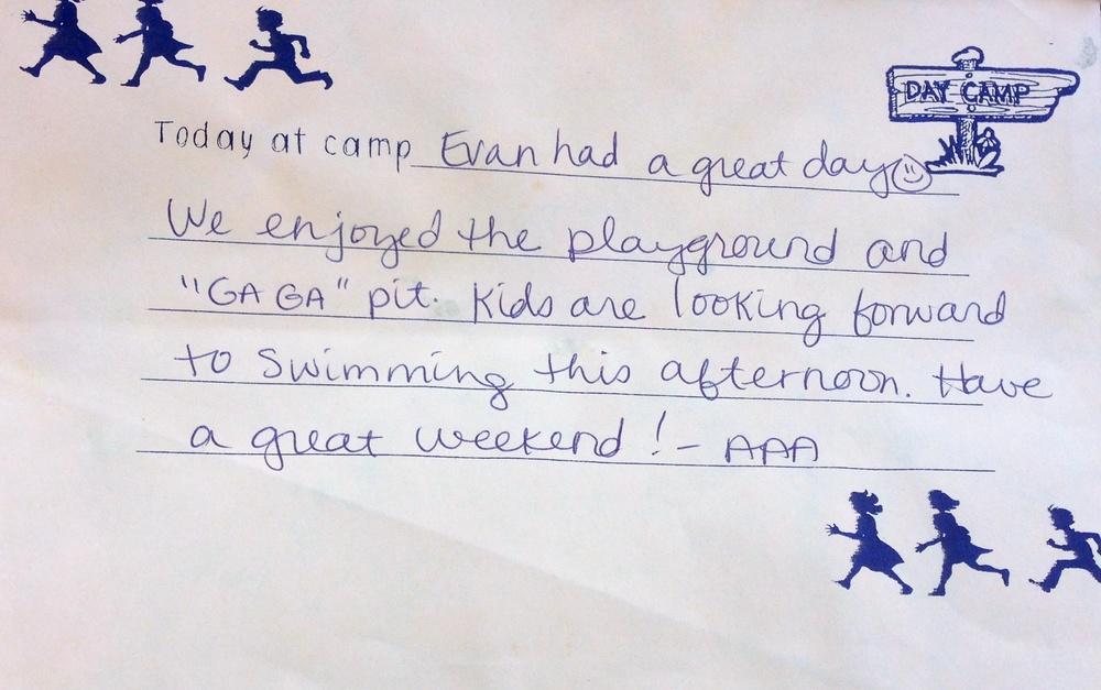 Evan's camp report.