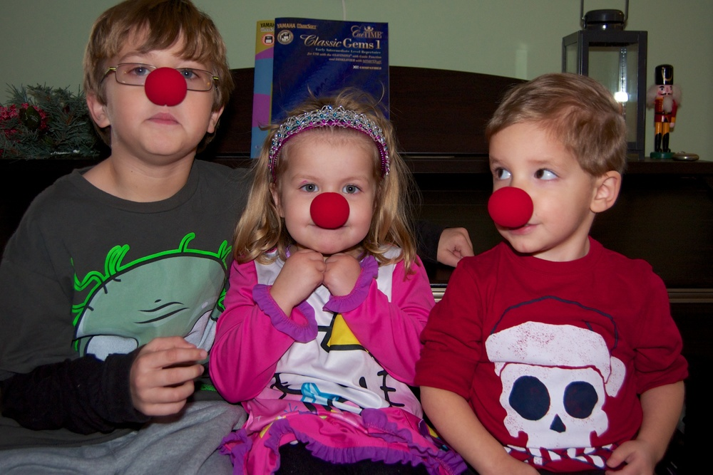 The grandkids received clown noses in their stockings.