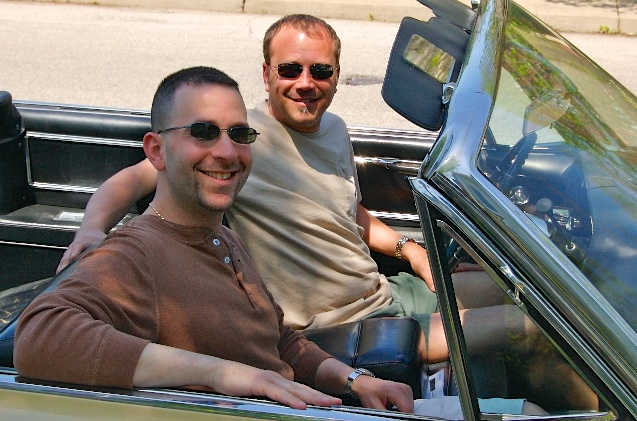 Bob and Gary in their '64 Cadillac. Bob is looking sharp with his summer haircut.