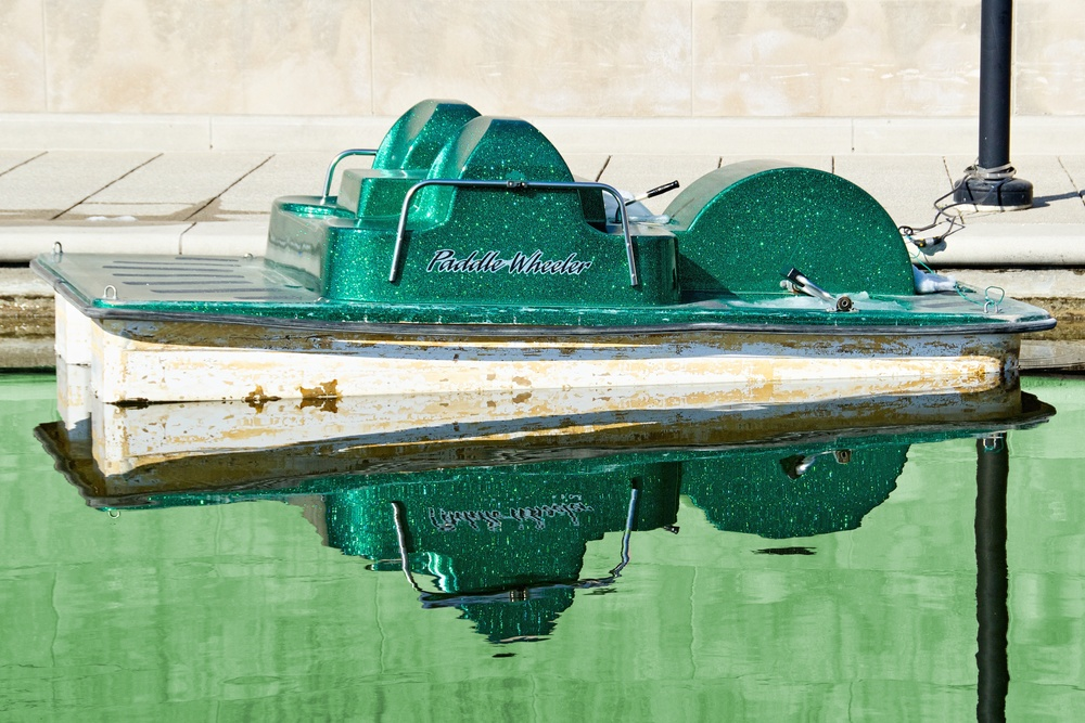 Green Paddle Wheeler on the Canal