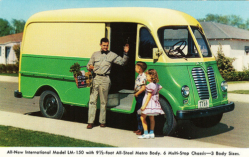 Our milk truck delivery van looked similar to this. I dressed similar to that boy, too. Ha ha.