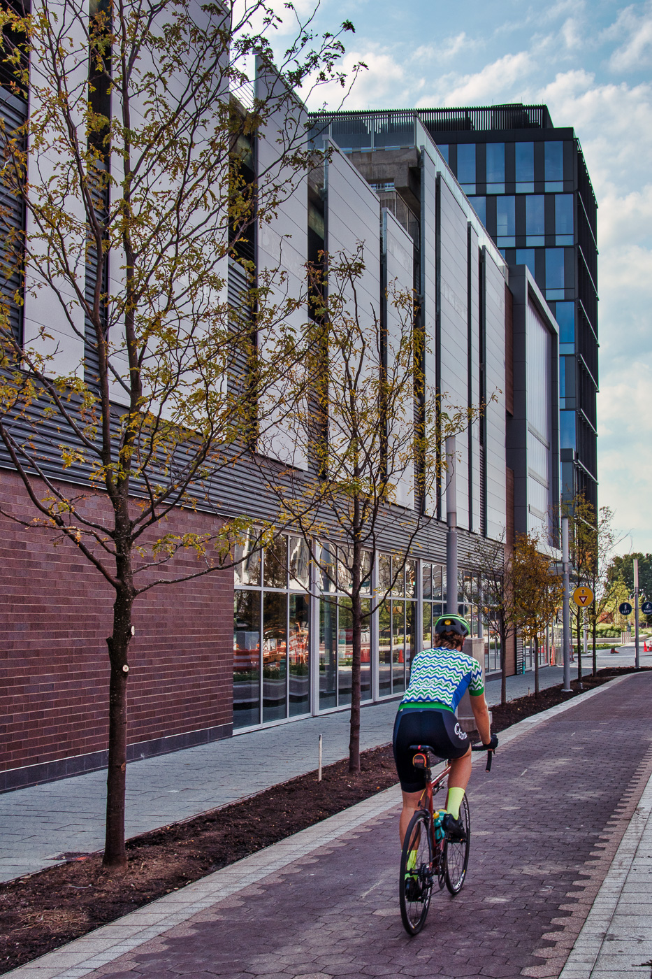 A section of the Cultural Trail was closed due to the construction of the building that will house Whole Foods. It is now reopened! Click the cyclist to view a larger size photo.