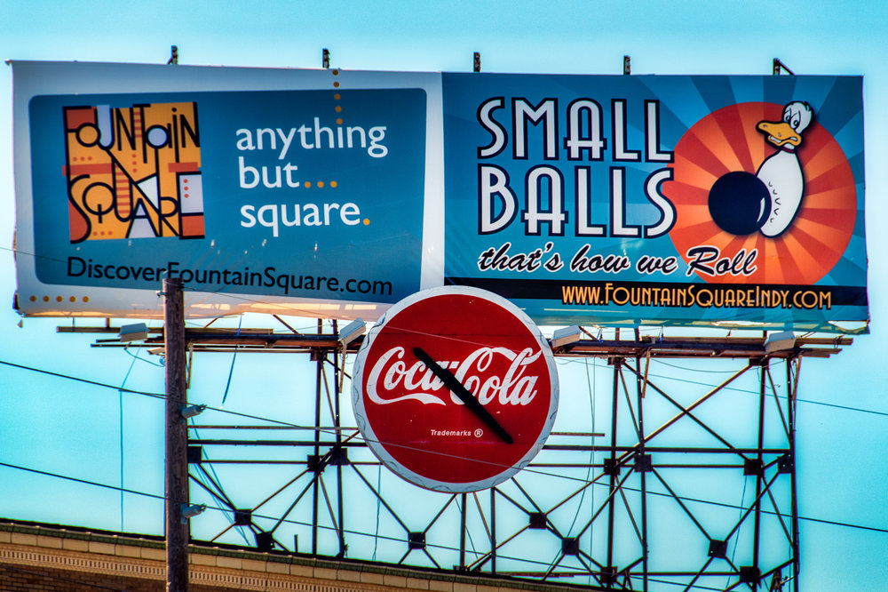 A billboard in Fountain Square. Click the ball to see a larger size.
