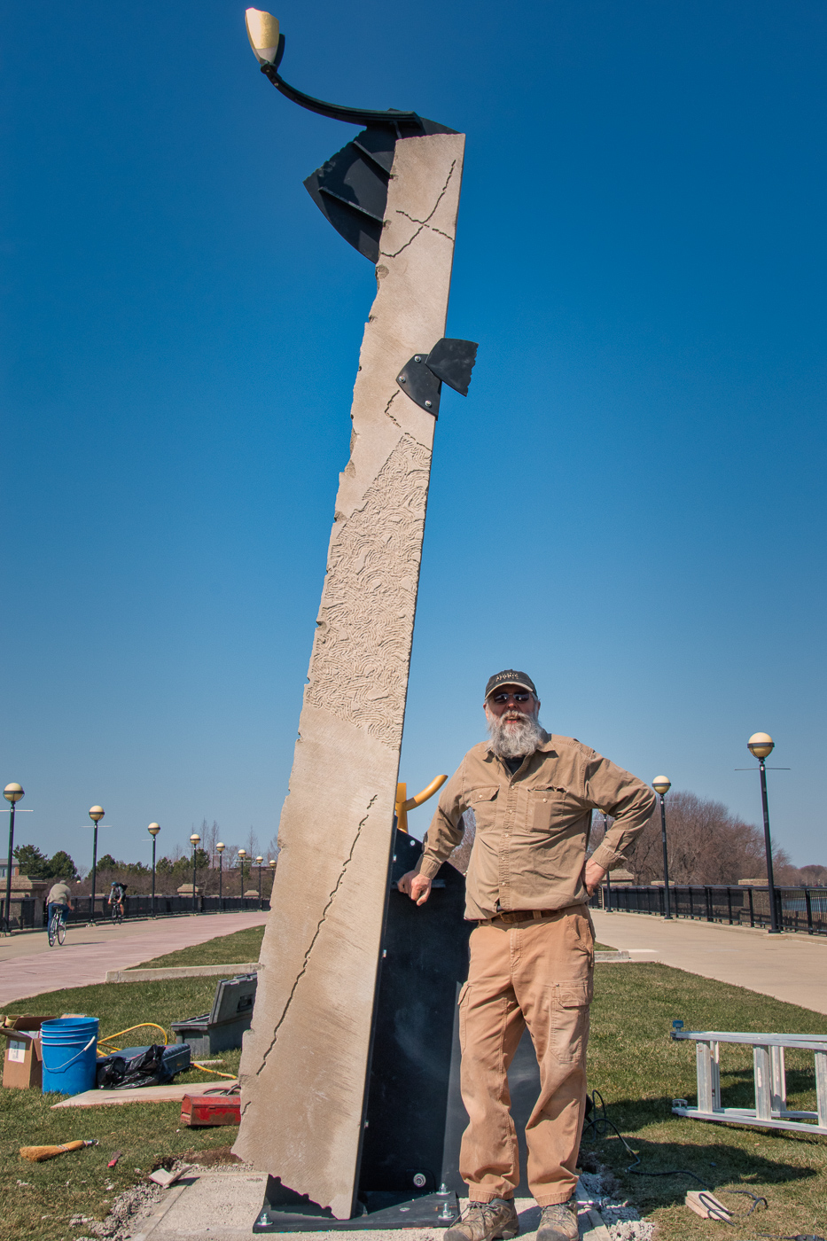 Dale Enochs and his sculpture, entitled  Counterpoint .