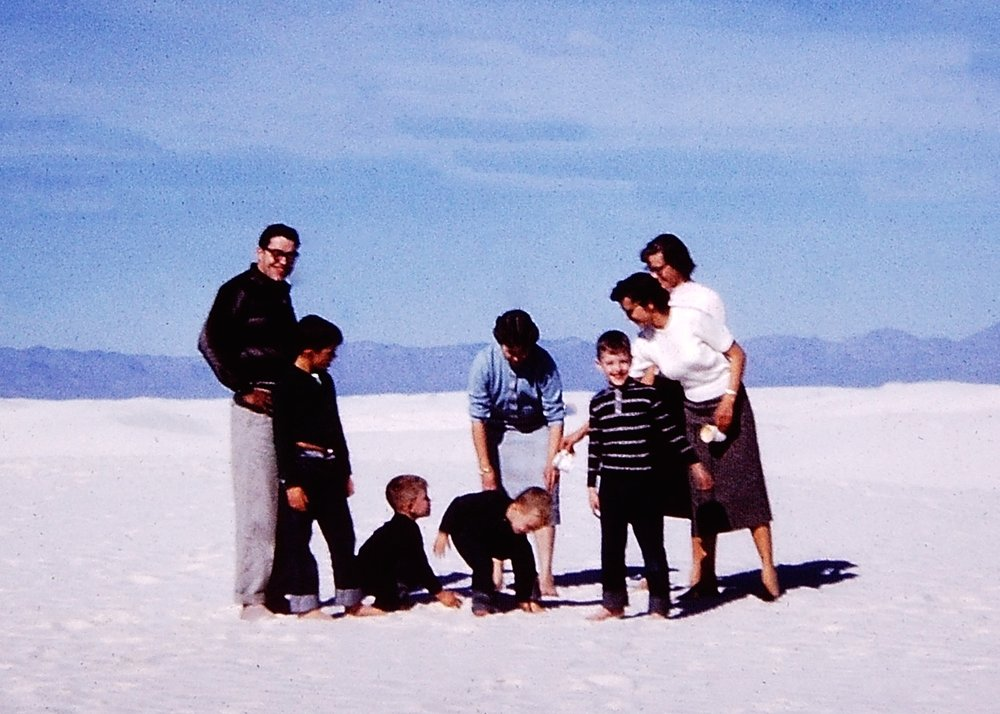 That's me in the striped shirt with my family at White Sands on my birthday.