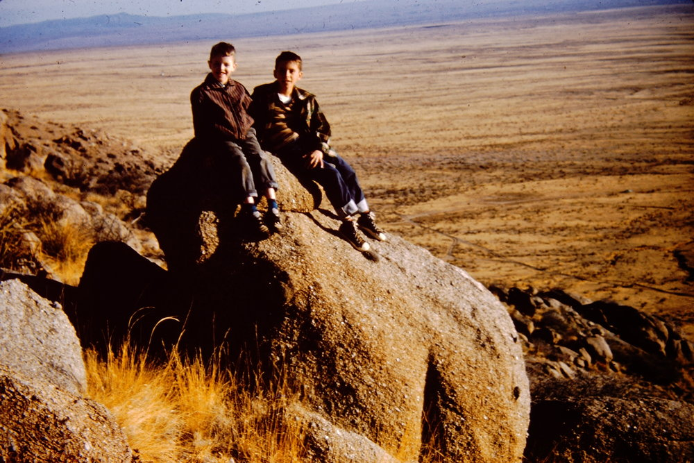 My cousin Doug and I on a rock which, at the time, I thought resembled a pig.