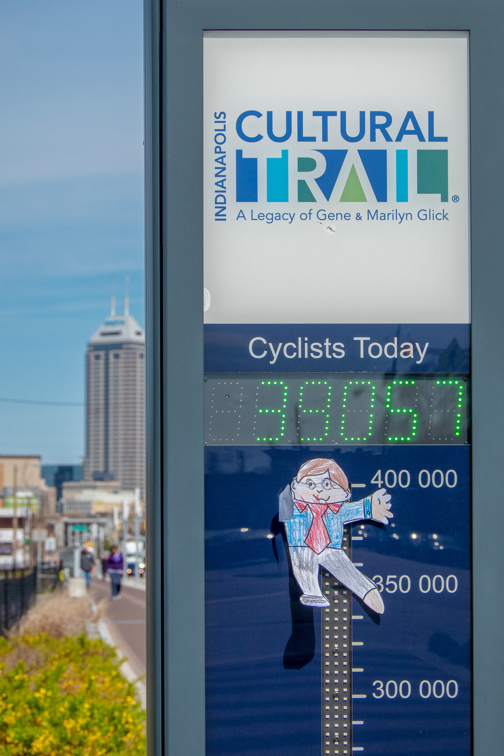 This is one of the bicycle counters on the Indy Cultural Trail. We think the device was on the fritz because it usually shows a daily count of cyclists. Or, perhaps it was a very busy day!