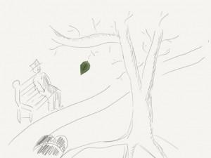 leaf on tree doodle