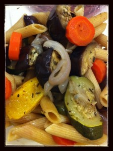 pasta and roasted veg