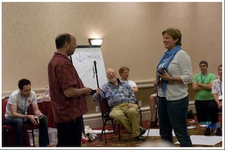 @michaelbolton and me at the 2008 AYE Conference - with experiential learning master @jerryweinberg observing