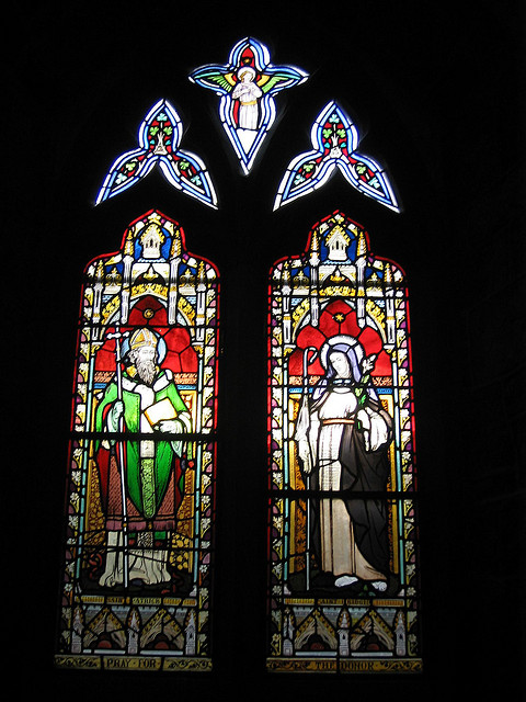 St Patrick and St Brigid stained glass at the St Francis' Abbey in Kilkenny, Ireland - by CaptainOates on flickr, Creative Commons license