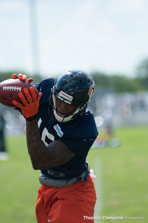 Brandon Marshall grabs another ball near the sideline