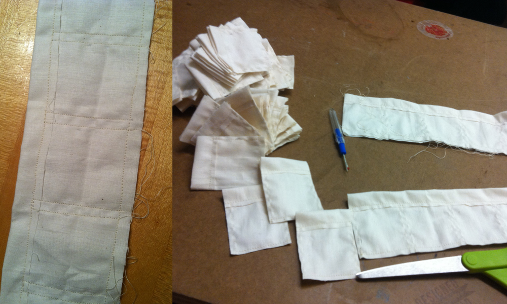 I used organic muslin and developed a pattern that would let me sew ten bags at once, then cut them apart.