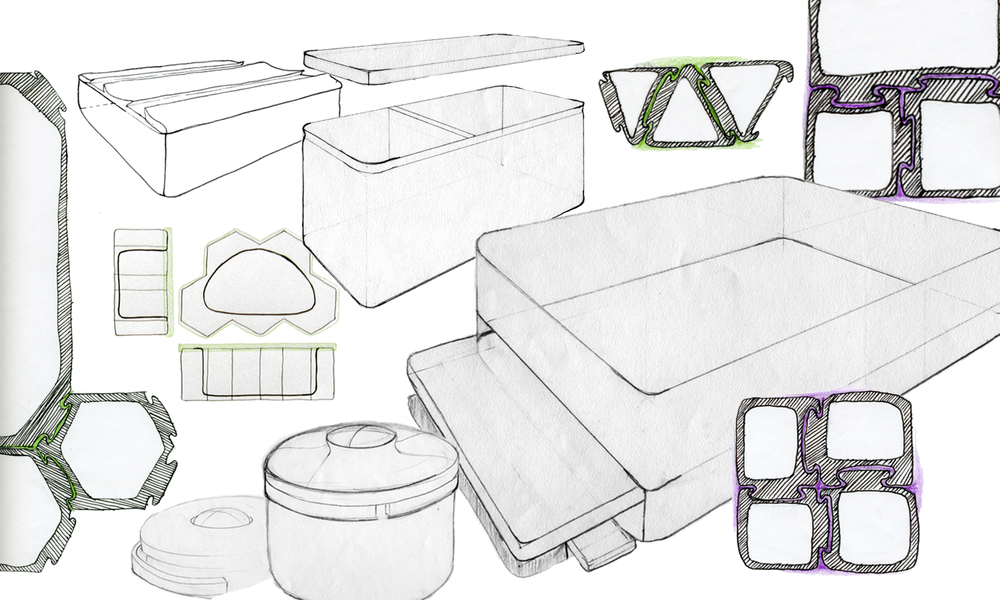 Initial sketches for modular lunch boxes.