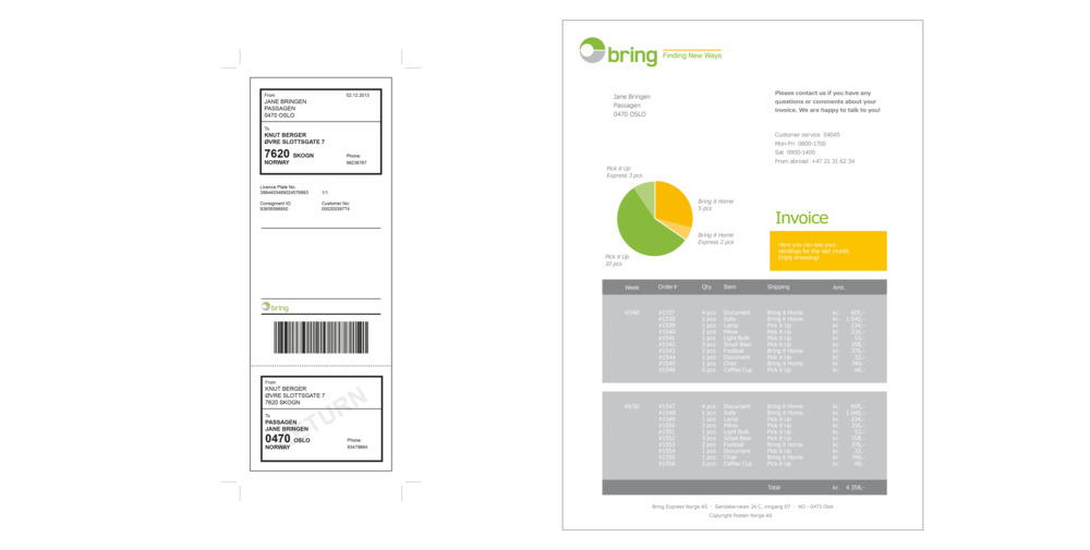 We also designed a simplified packing label, with tear off return label, and a new invoice .