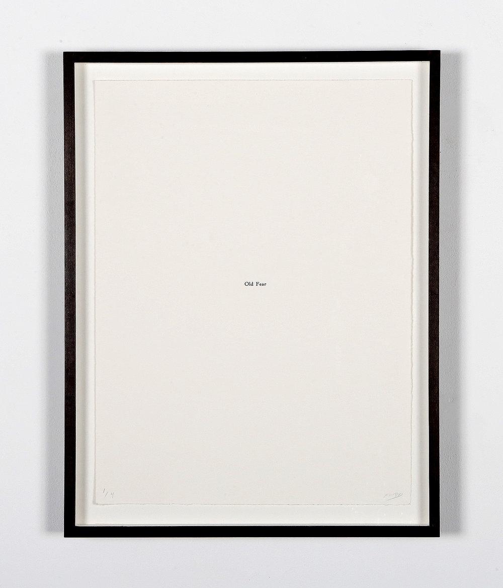 Old Fear,  title page, letterpress, 30cm x 40cm, edition of 4, 2018