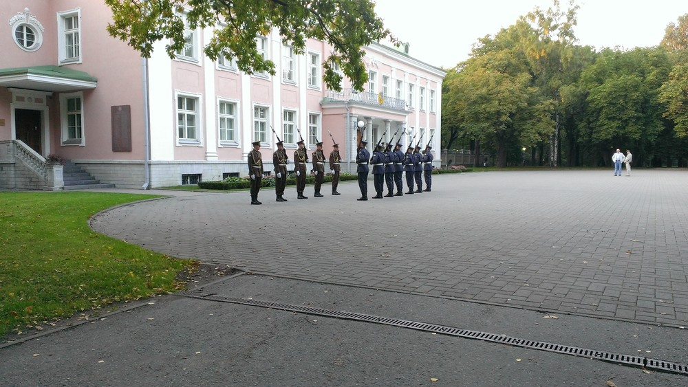 Soldiers in the changing of the guard outside the President's official residence in the park