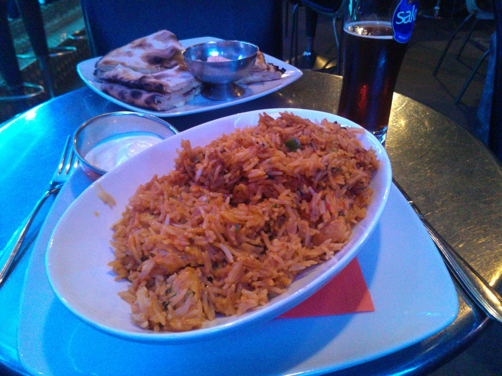 Chicken biryani and cheese naan at Cafe Vs., Tallinn
