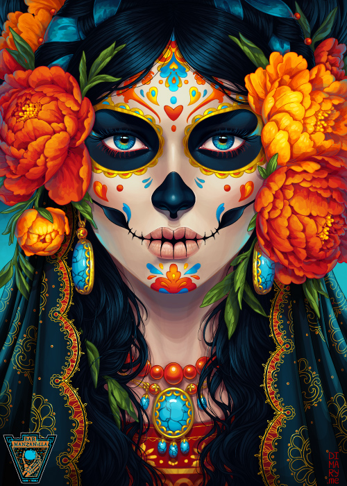 "(Fiction) Dia de los Muertos - Xana's father would never let her wear makeup, especially when the boys were noticing her more. With her big, toothy smile and that wild, curly hair, lighter than her skin, she looked exotic in the dark-skinned country. The prohibition made the face paint seem so naughty, like a sin. Adorning herself with flowers and skulls, Xana felt pretty. It was one of the few times in her life she had felt beautiful, really beautiful inside and out. And she had forgotten about it completely.Xana looked at the picture. Her buck-toothed smile stretched from ear to ear. She was skinny. Her skin was painted blue with roses for cheeks and skeleton lips. Her eyes were like a puppy's. ""I'm not this girl anymore.""""Of course not! We are all of us different. But she's still inside of you."" Rosa took the picture from Xana and smiled at it. ""I think this is what God sees when he looks down at you.""(Continue →)"