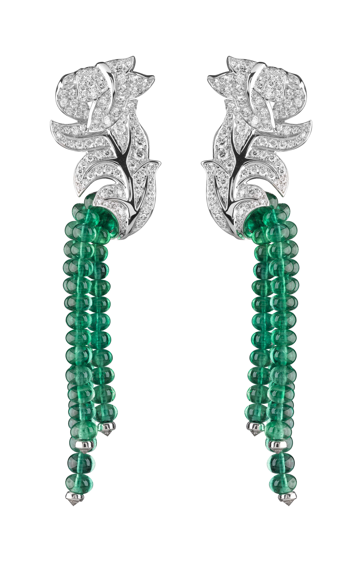 Emerald and diamond shoulder dusters ...