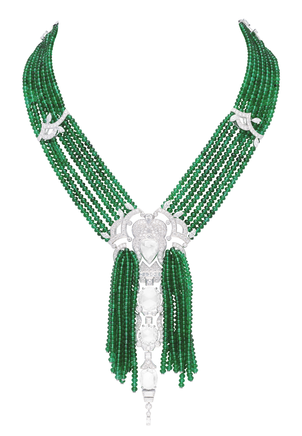 ... the pièce de résistance. Emerald and diamond earring and necklace set by Van Cleef & Arpels.