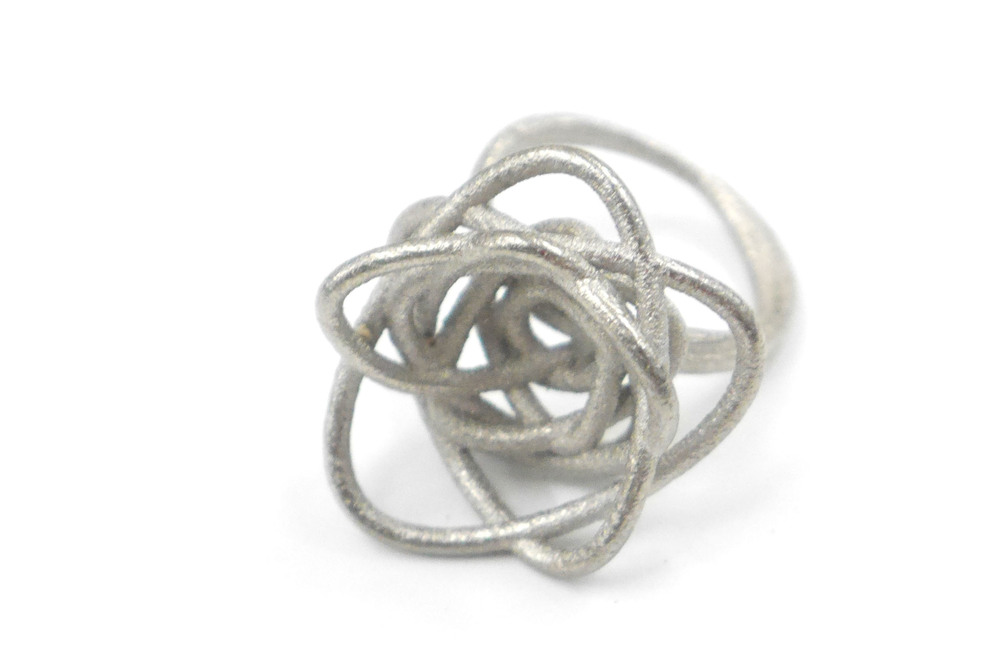 Sprouted Spirals Ring 3590: In Steel $30