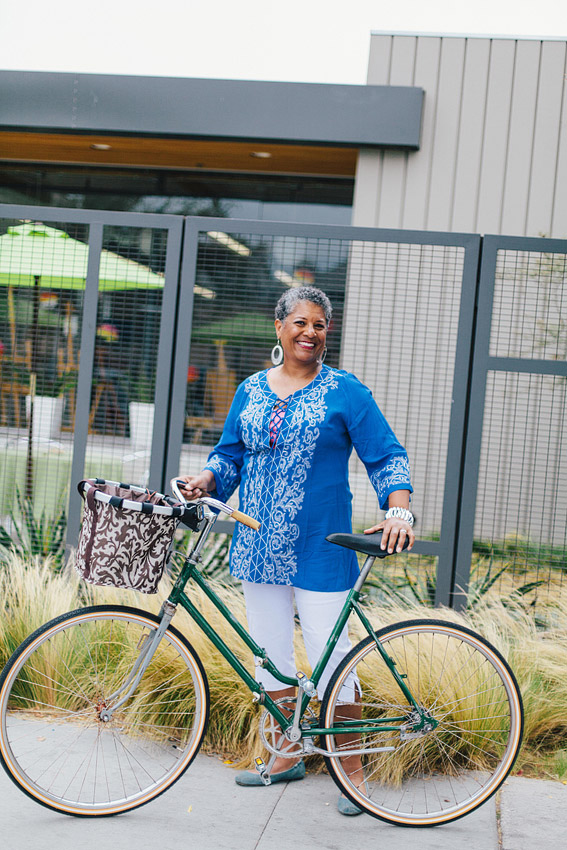 Kellie rides her cool 60's vintage folding bike for shorter rides and her recumbent for longer rides. Image by Lisa Beth Anderson.