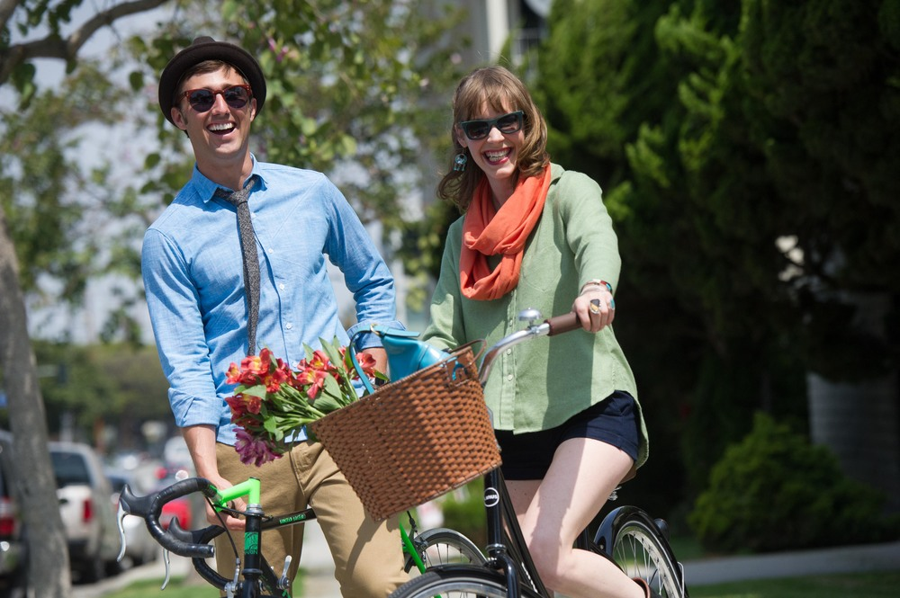Here's Nicole on the right from 2012 in a promotional shot by Allan Crawford for our first bike and fashion show. On the left is Joseph M. Bradley of The Pedaler Society another Long Beach based bike minded company. They are wearing apparel from The Academy of Long Beach and hats by Yellow 108.