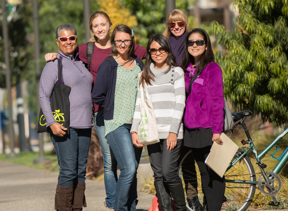 Members of the Pedal Love creative team gathered in December for an Active Living Plugged In training session. From left upper: Jennifer Tetrick and Melissa Balmer. From left lower: Kellie Morris, Sarah Bennett, Maria Sipin and Machiko Yasuda. Image by Allan Crawford.